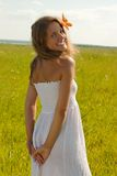Girl in white dress Royalty Free Stock Photo