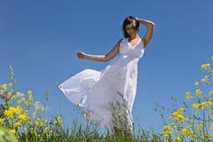 Girl in white dress. Stock Images