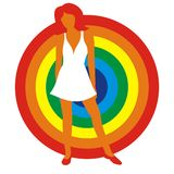 Girl in a white dress. Silhouette of the girl in a white dress on a background of a circle of colors of a rainbow. Figure is isolated on a white background Royalty Free Stock Images