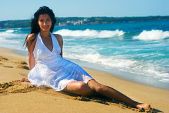 Girl with white dress Royalty Free Stock Photos