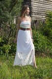 Girl in a white dress Stock Photography