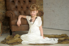 Girl  in a white dress and a beautiful necklace Stock Images