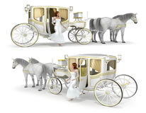A girl in a white dress comes out of a two-horse drawn carriage. Set of 3d images,  on white Royalty Free Stock Photography