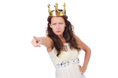 Girl in white dress and crown isolated on white Stock Photography