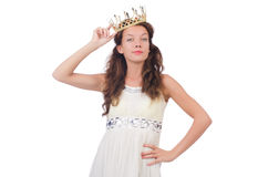 Girl in white dress and crown isolated on white Royalty Free Stock Photo
