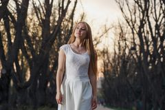 Girl in a white dress in the fairy forest. Mystery night.  Royalty Free Stock Images