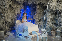 Girl in a white dress in a fairy-tale  forest Royalty Free Stock Image