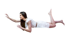 Girl In White Dress Floating Air On Background Royalty Free Stock Photography