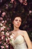 Girl in white dress in the garden in spring Stock Photography