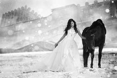 girl in a white dress on a horse Royalty Free Stock Image