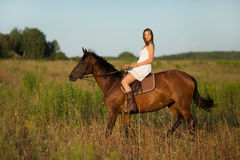 Girl in white dress on a horse. Girl in white dress on a brown horse Stock Photos