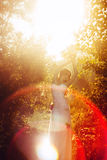 Girl in a white dress at sunset. Bride in white dress standing in the sunset Royalty Free Stock Image