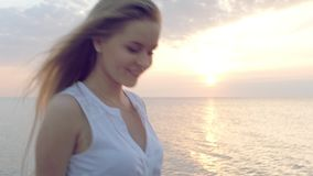 Girl in white dress stock footage