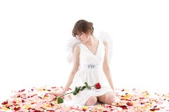 Girl in white dress and wings Stock Image