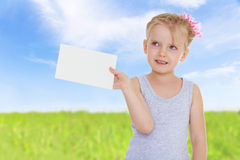 Girl with a white envelope Royalty Free Stock Images