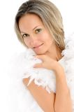 Girl with white feathers Stock Photos