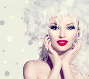 Girl with white feathers hairstyle. Beauty fashion model girl with white feathers hairstyle royalty free stock image
