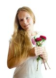 Girl in white with flowers Royalty Free Stock Photography