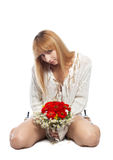 Girl in white with flowers Stock Images