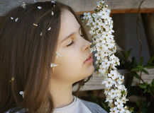 Girl with white flowers Stock Image
