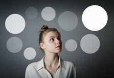 Girl in white and gray bubbles. Royalty Free Stock Image