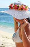 Girl in white hat Royalty Free Stock Images