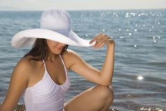 Girl in white hat Royalty Free Stock Photos