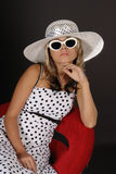 Girl in white hat. Stylization in old fashion style Royalty Free Stock Photo