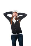 Girl in white hat and scarf Royalty Free Stock Photography