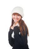 Girl in white hat and scarf Stock Photos
