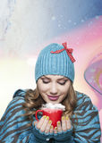 Girl with white hat and scarf in sweater winter time concelt. Beautiful girl woman in fashion winter clothes season concept drinking hot tea, coffee, chocolate stock photography