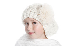 Girl with White Hat and shawl Royalty Free Stock Image