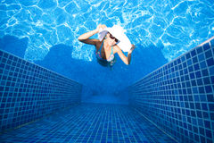 Girl, white hat and swimming pool Royalty Free Stock Photos