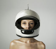 The girl in the white helmet Royalty Free Stock Photos