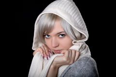 The girl in  white hood Royalty Free Stock Photo