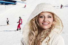 Girl with white hood, she's cold, Stock Photography