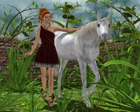 Girl and a white horse. Fantasy scene with the girl and a white horse on nature among beautiful trees and plants Stock Photography