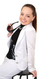 Girl in a white jacket on the chair Royalty Free Stock Photo