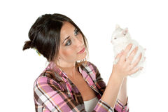 The girl with a white kitten Royalty Free Stock Photos