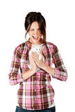 The girl with a white kitten Stock Images