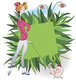 Girl white lap dog. Red-haired girl walk with a little white lap dog royalty free illustration