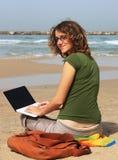 Girl with white laptop Royalty Free Stock Photos