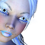 Girl with white lashes. Digitally rendered portrait of a girl with long white lashes, winter woman Royalty Free Stock Image
