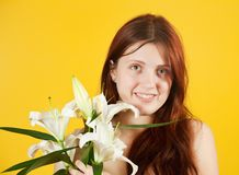Girl with white lily Royalty Free Stock Images