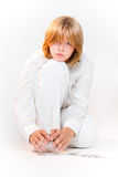 Girl in white making card house Royalty Free Stock Photos