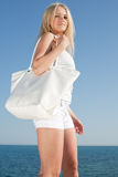Girl in white on open air Royalty Free Stock Images