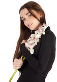Girl with white orchid Stock Photo