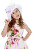 Girl in a white Panama Stock Photos