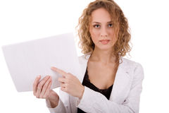 Girl with white paper Stock Images