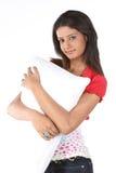 Girl with white pillow Royalty Free Stock Photos